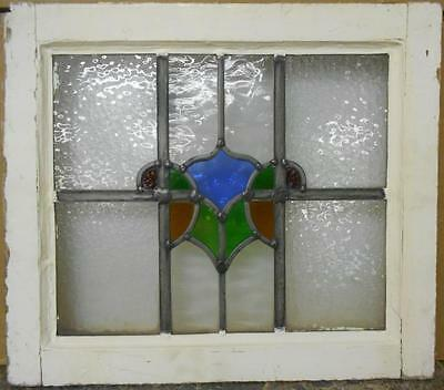 """OLD ENGLISH LEADED STAINED GLASS WINDOW Colorful Abstract Design 19"""" x 16.5"""""""