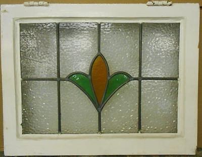 "MID SIZED OLD ENGLISH LEADED STAINED GLASS WINDOW Simple Floral Design 22"" x 17"""