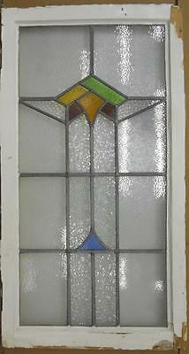 "LARGE OLD ENGLISH LEADED STAINED GLASS WINDOW Pretty Abstract 20.75"" x 38.75"""