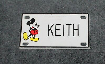 Vintage Walt Disney Prod. Mickey Mouse Name Keith Plastic License Plate