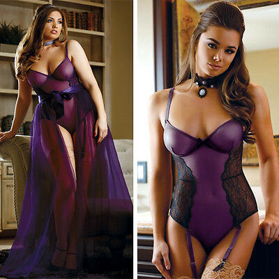 Sheer Purple Teddy Black Lace Wire Bra Top Boudoir Bodysuit Garter Lingerie S-5X