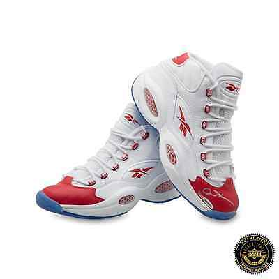 Allen Iverson Autographed/Signed Reebok Question Mid Shoes With Red Toe - 76ers