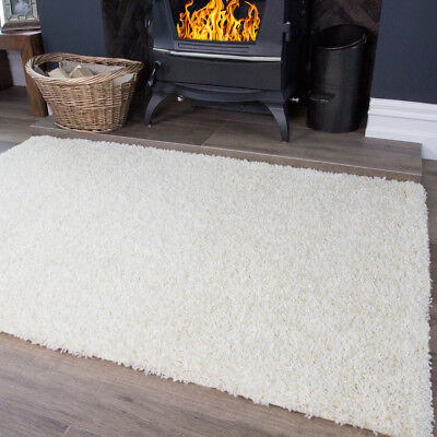 New Small Medium Large Size Thick Cream Soft Shaggy Rug Non Shed Modern Rugs Uk
