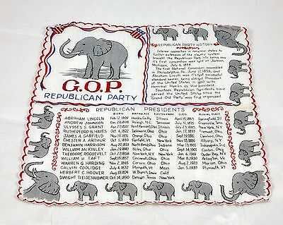 Nice Vintage 1950's GOP Handkerchief - List Of Republican Party Presidents