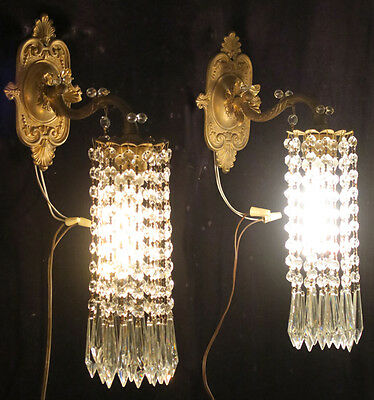2 Vintage Brass fountain waterfall Crystal prism lamp Sconces French beaded