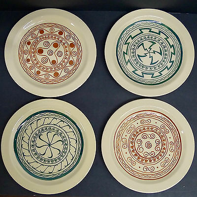 Decorated Vintage Pacific Pottery Plates-et of 4