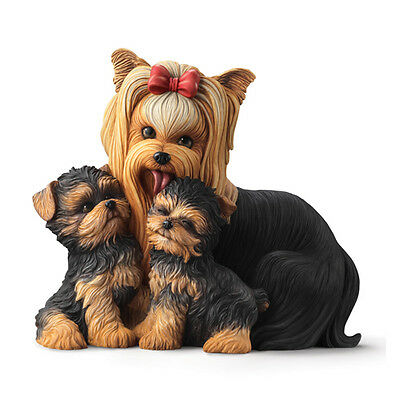 Yorkie Kisses Mother And Puppies Resin Skulpture Dog Statue