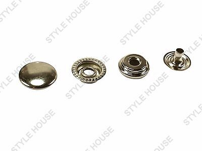 15mm SILVER RING SNAP FASTENER STRONG LARGE BRASS PRESS STUD POPPER LEATHERCRAFT