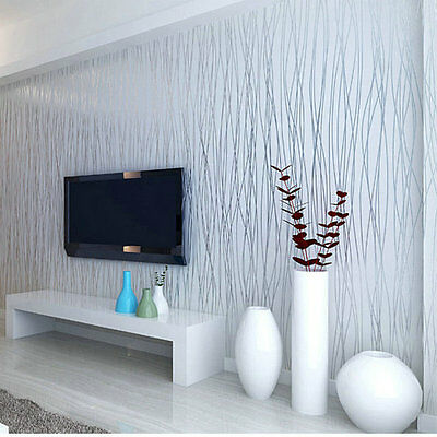 10M Luxury Flocking Embossed Textured Lines Wallpaper Roll TV Background