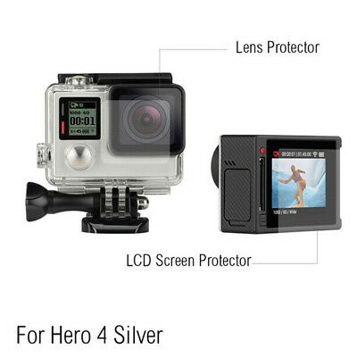 Clear LCD Screen HD Protector + Housing Lens Shield Film For GoPro Hero 4 Silver