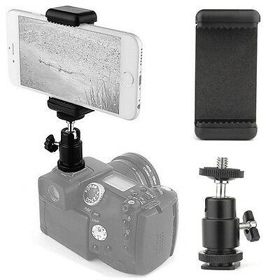 360 Ball Head Hot Shoe Adapter Mount Holder Clip for Cell Phone iPhone Camera