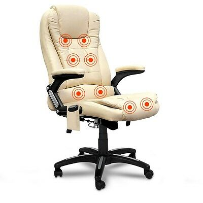 NEW High Back 8 Point Massage Executive PU Leather Office Computer Chair - Beige