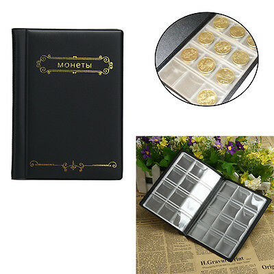 120 Pockets 10 Page Coin Storage Folder Album Penny Collecting Holder Book Black