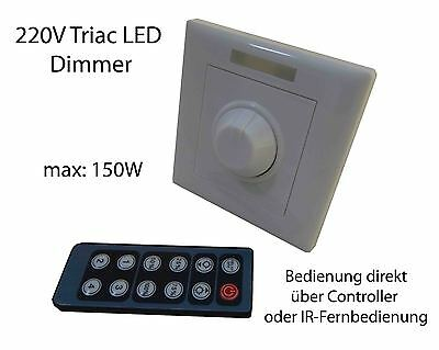 triac 230v led slim panel dimmer schalter controller 150w fernbedienung hochvolt eur 43 95. Black Bedroom Furniture Sets. Home Design Ideas
