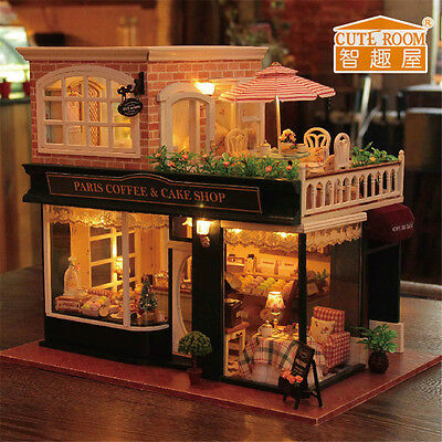 DIY French Cafe Doll House Assembled Wooden Dollhouse Miniature Kit X'mas Gift