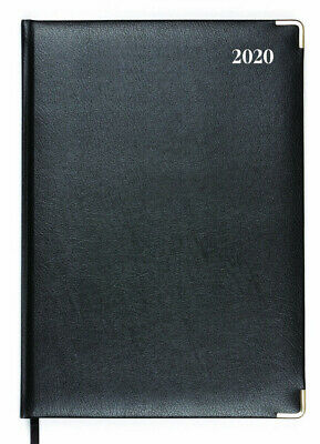 Collins 2019 Management A4 Day to Page DTP Diary Hourly Bonded Leather BLACK