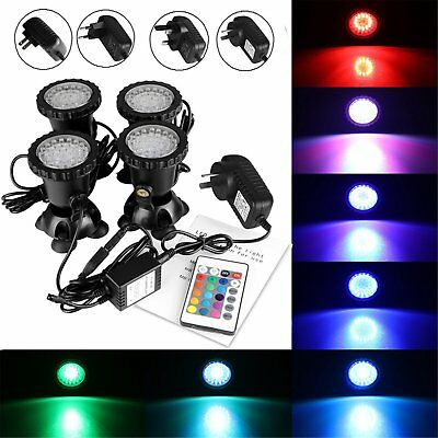 4pcs 12V Underwater Garden Fountain Fish Tank Pool Pond 36 LED Decor Spot Light