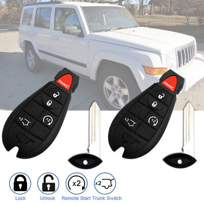 2 for Jeep Commander 2008 2009 2010 for 08-13 Dodge keyless remote start key fob