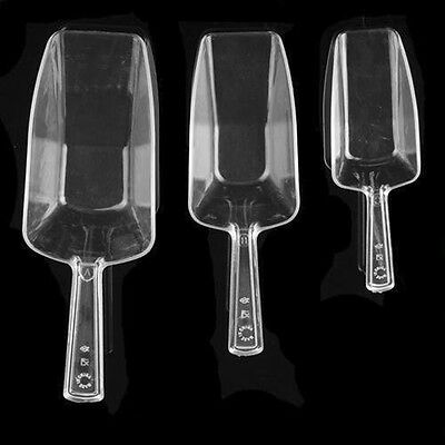 3 x CLEAR PLASTIC ICE SCOOPS BAR WEDDING SUGAR SWEET BUFFET CANDY PARTY top