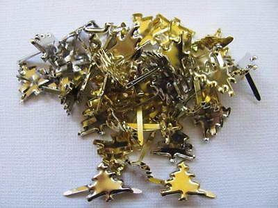 BB BRADS CHRISTMAS TREES silver & gold pk of 20 xmas tree cards scrapbooking
