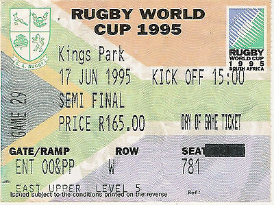 South Africa v France - semi final 17 Jun 1995 Durban RUGBY WORLD CUP TICKET