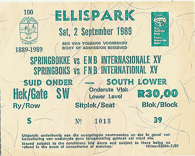 South Africa v World XV- 2nd Test 2 Sep 1989 Johannesburg RUGBY TICKET