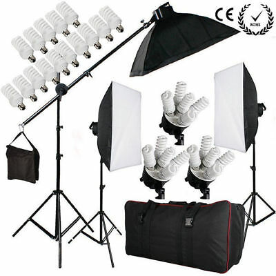 2850W Pro Kit Eclairage Continu Studio Photo 5 Têtes Softbox Ampoule Support Sac