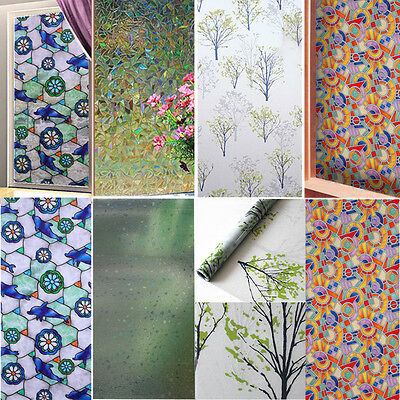 45cm*100cm Frosted Static Cling Window Film Stained Glass Home Privacy DIY Decor