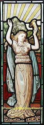 """Antique LEADED Painted STAINED GLASS  """"Pre-Raphaelite Maiden """" Ship Worldwide"""