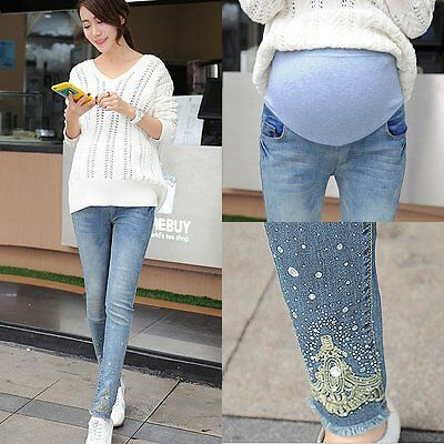 Pregnant Women Denim Skinny Maternity Pants Over Bump Slim Pencil Jeans Trousers