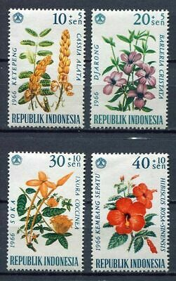 38201) INDONESIA 1966 MNH** Flowers 4v