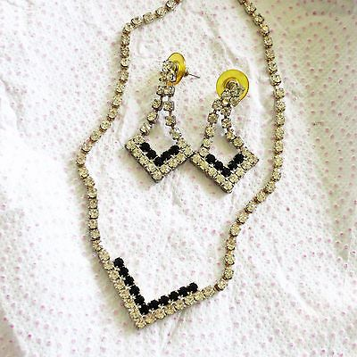 Silvertone Crystal & Black Rhinestone V Necklace & Matching Pierced Earring