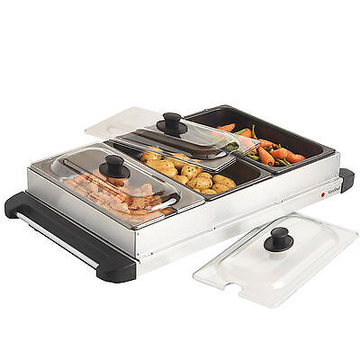 VonShef Stainless Steel Electric 3 Pan Buffet Food Server Hot Plate Warmer Tray