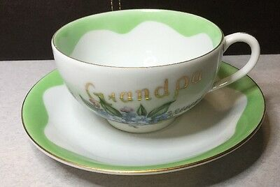 Oversized Porcelain Cup & Saucer - Coffee / Grandpa - Lefton China 2596 2594