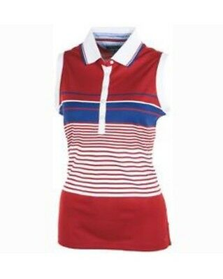 Tommy Hilfiger Women's Sleeveless Golf Polo Shirt Red/blue/White Striped M