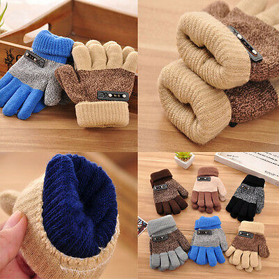 Boys Kids Warm Knitted Gloves Winter Thick Full Mitten Finger Protector Stylish