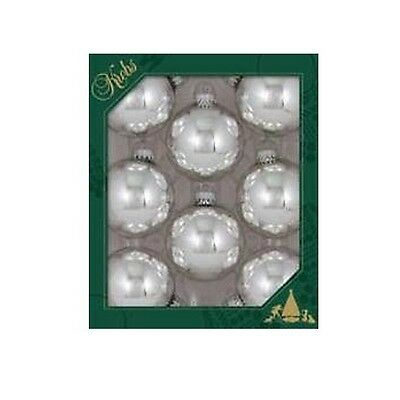 NEW Christmas By Krebs Bright Silver Ball Ornament 8 pc set Made in USA