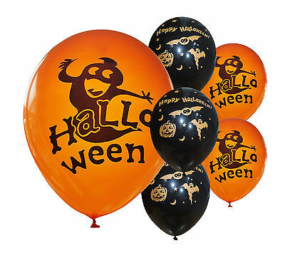 "24 x HALLOWEEN BLACK & ORANGE 12"" HELIUM QUALITY BALLOONS"