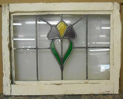 """OLD ENGLISH LEADED STAINED GLASS WINDOW Pretty Floral 21.75"""" x 16.75"""""""