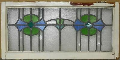 "OLD ENGLISH LEADED STAINED GLASS WINDOW TRANSOM Beautiful Geo 37.75"" x 18.5"""