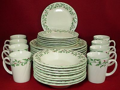 TOTALLY TODAY china HOLLY LEAF pattern 31-pc SET SERVICE for EIGHT (- 1 salad)