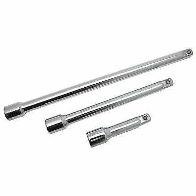 """3 Piece 3/8"""" Drive Extension Bar Set Heat Treated Fully Polished Length 3"""" 6"""" 9"""""""