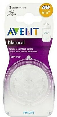 Philips AVENT Natural Teat Fast Flow Combine Breast Bottle Feeding 6m+2 Teats