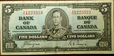 1937 Bank of Canada $5 Dollar Bill Banknote