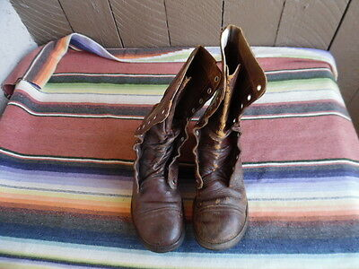 Men's Vintage Distressed 50s Military Brown Leather Combat Jump Boots 8 1/2 R