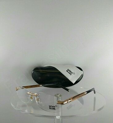 New Authentic MONT Blanc MB 0491 028 Eyeglasses Wood/Gold MB491 Frame