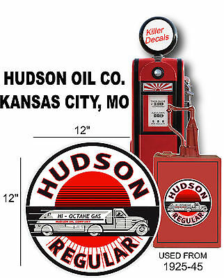 "12"" 1925-45 Hudson Semi Truck Tanker Gasoline Decal Oil Can  Gas Pump  Lubster"