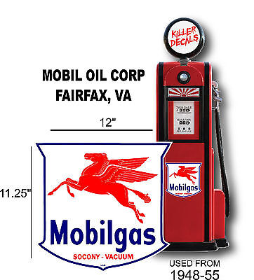 "12"" 1948-55 Mobil Gas Pegusus Shield Gasoline Decal Can  Gas Pump  Lubster"