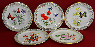 LENOX china BUTTERFLIES & FLOWERS collector plates First 5 Plates in the Series