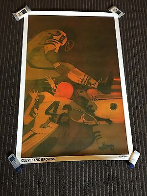 """Vintage Cleveland Browns Poster 28x36"""" NFL Football Retro Throwback Mancave 60s"""